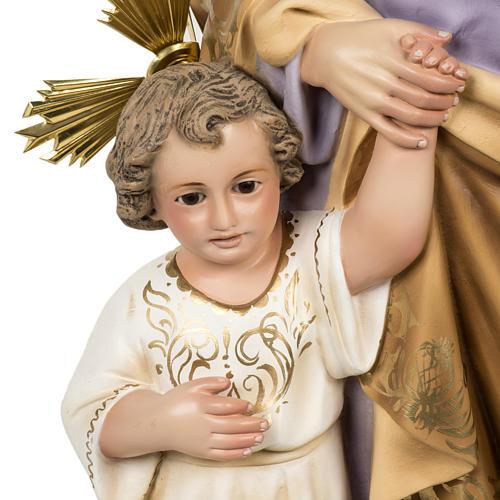 Saint Joseph with baby statue 60cm in wood paste, elegant finish 3
