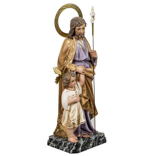 Saint Joseph with baby statue 60cm in wood paste, elegant finish 5