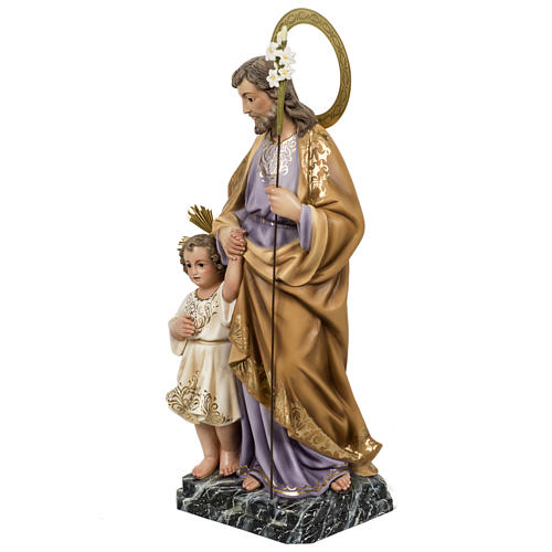 Saint Joseph with baby statue 60cm in wood paste, elegant finish 11