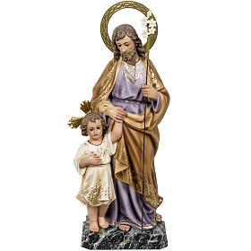 Statues en bois peint: St Joseph et enfant 60 cm pâte à bois classique