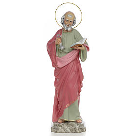 Hand painted wooden statues: Saint Peter Statue in wood paste, 50 cm