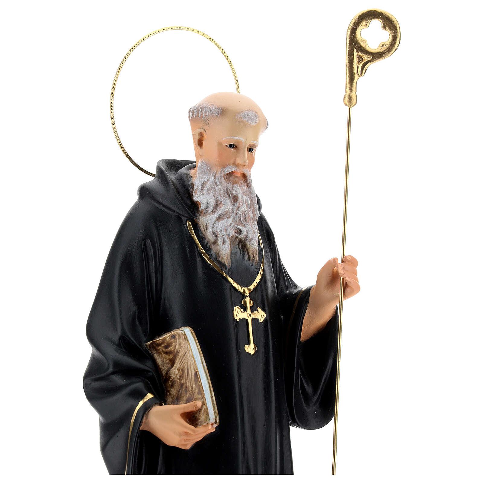 Statue Saint Benoit de Nurcie 30 cm pâte à bois 4