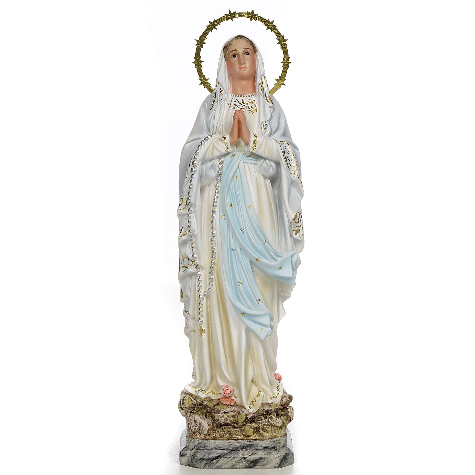 Madonna di Lourdes 40 cm pasta di legno dec. elegante 4