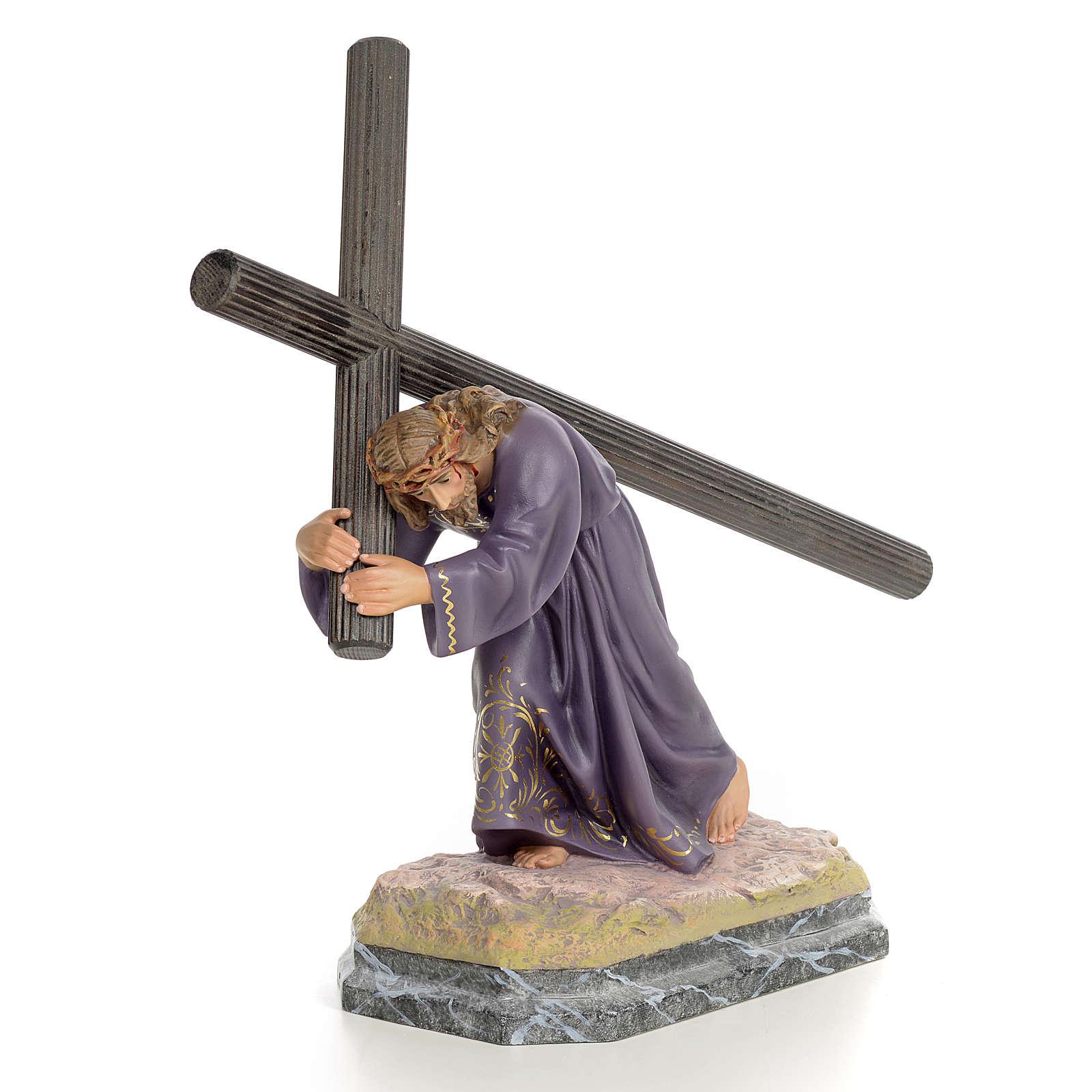 Gesù con la croce in spalla 30 cm pasta di legno dec. elegante 4