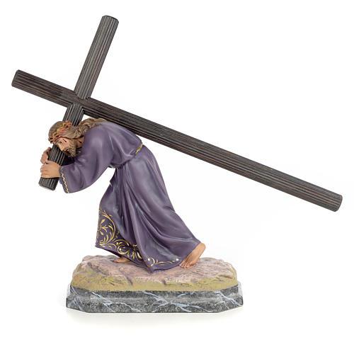 Gesù con la croce in spalla 30 cm pasta di legno dec. elegante 1