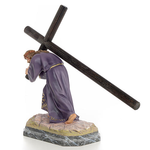 Gesù con la croce in spalla 30 cm pasta di legno dec. elegante 2