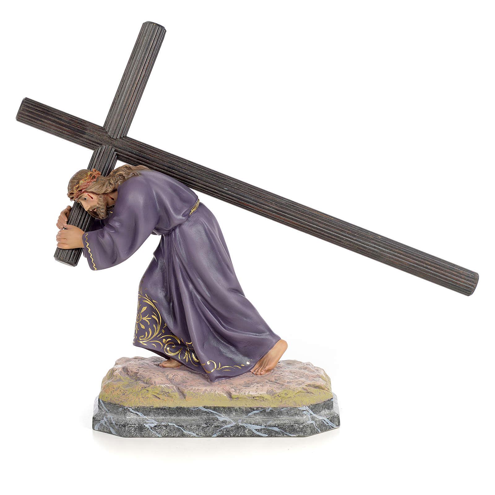 Jesus carregando a cruz 30 cm pasta de madeira acab. elegante 4