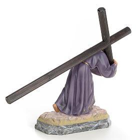 Jesus carregando a cruz 30 cm pasta de madeira acab. elegante s3