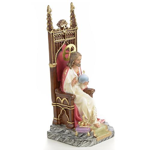 Sacro cuore di Gesù su trono 25 cm dec. elegante 4