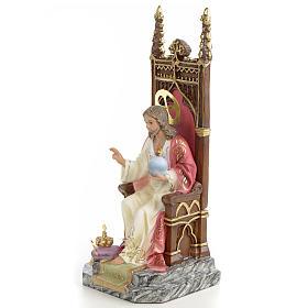 Sagrado Coração de Jesus no trono 25 cm pasta de madeira acab. elegante