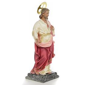 Sacro Cuore di Gesù 40 cm pasta di legno dec. elegante s4