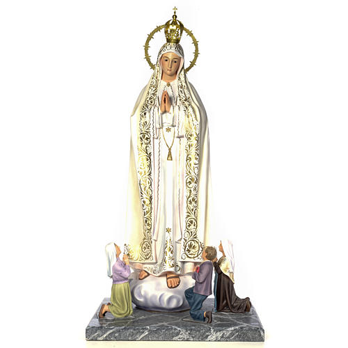 Our Lady of Fatima with seers 120cm wood paste, elegant decorati 1