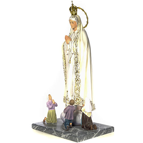 Our Lady of Fatima with seers 120cm wood paste, elegant decorati 2