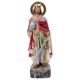 Statues en bois peint: St Ferdinand Roi 20 pâte bois élégant