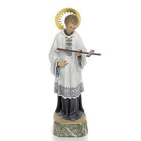 Statues en bois peint: St Louis de Gonzague 20 cm pâte à bois