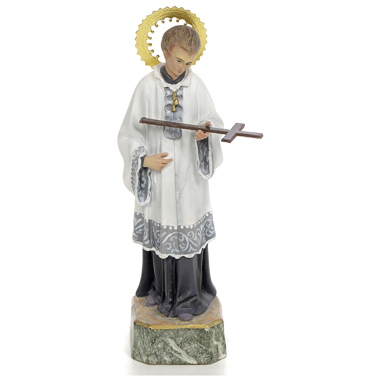 San Luigi Gonzaga 20 cm pasta di legno decoro elegante 4