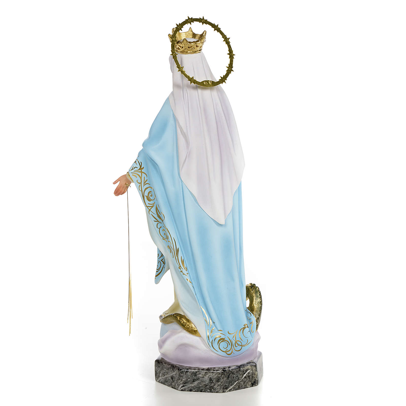 Virgin of the miraculous medal wooden paste 40cm, fine finish 4