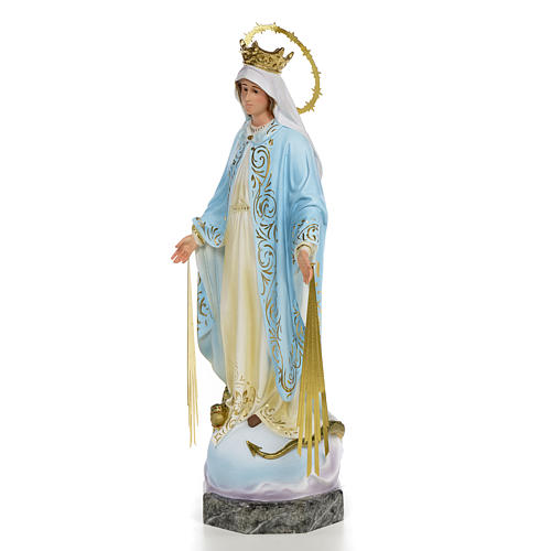 Virgin of the miraculous medal wooden paste 40cm, fine finish 2