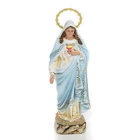 Sacro Cuore di Maria 20 cm pasta di legno dec. elegante s1