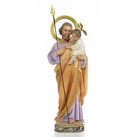 Hand painted wooden statues: Joseph with Infant Jesus wooden paste 30cm, fine finish