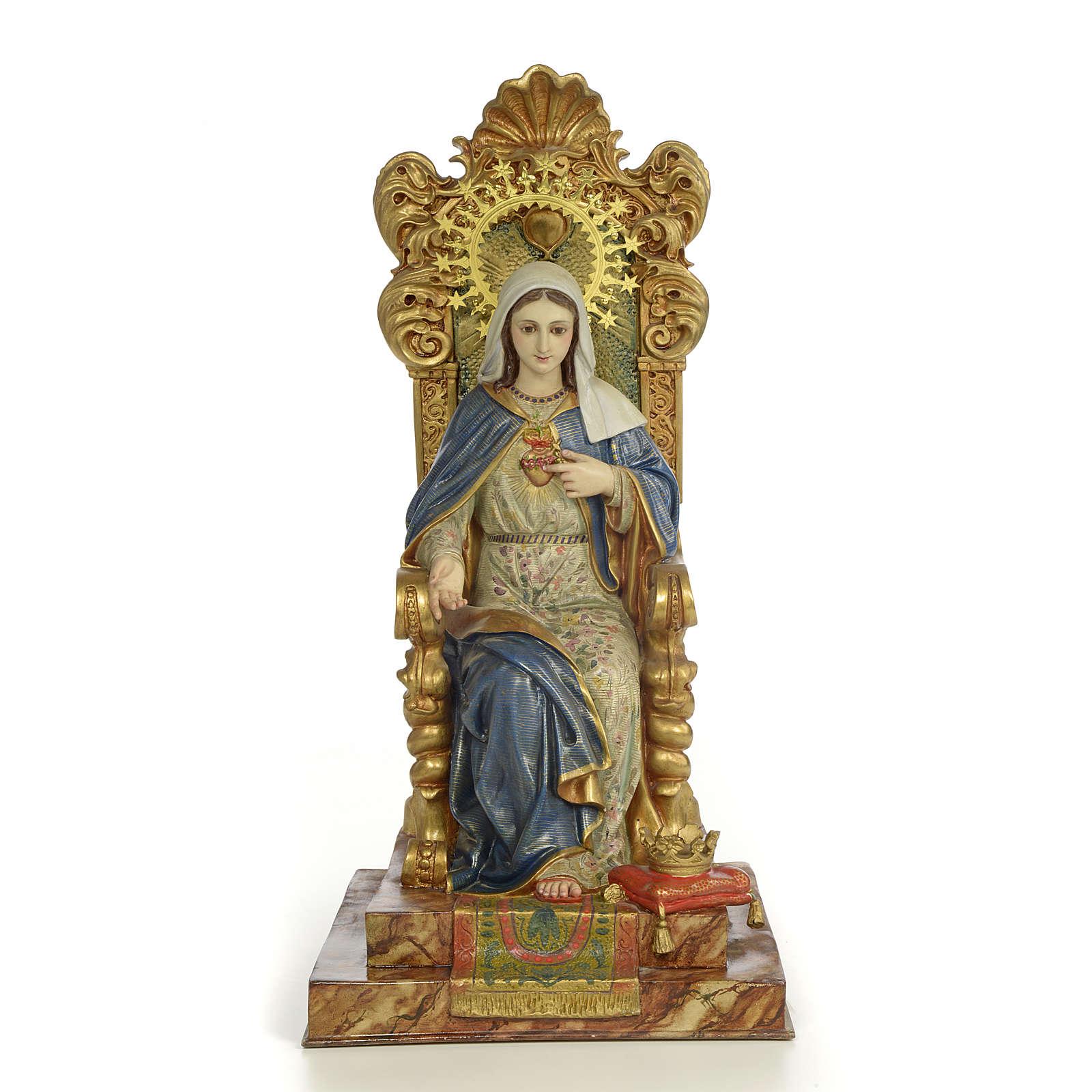 Sacro Cuore Maria su trono 50 cm pasta di legno dec. extra 4