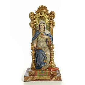 Sacro Cuore Maria su trono 50 cm pasta di legno dec. extra s1