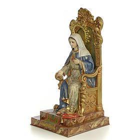 Sacro Cuore Maria su trono 50 cm pasta di legno dec. extra s2