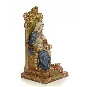 Sacro Cuore Maria su trono 50 cm pasta di legno dec. extra s4