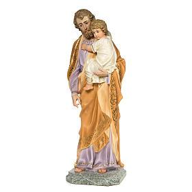 San Giuseppe Bambino in braccio 110 cm pasta legno dec. elegante s3