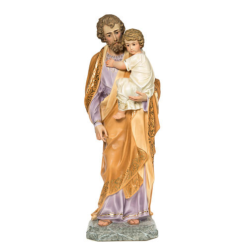 San Giuseppe Bambino in braccio 110 cm pasta legno dec. elegante 1
