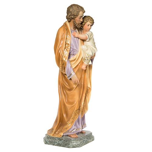 San Giuseppe Bambino in braccio 110 cm pasta legno dec. elegante 4