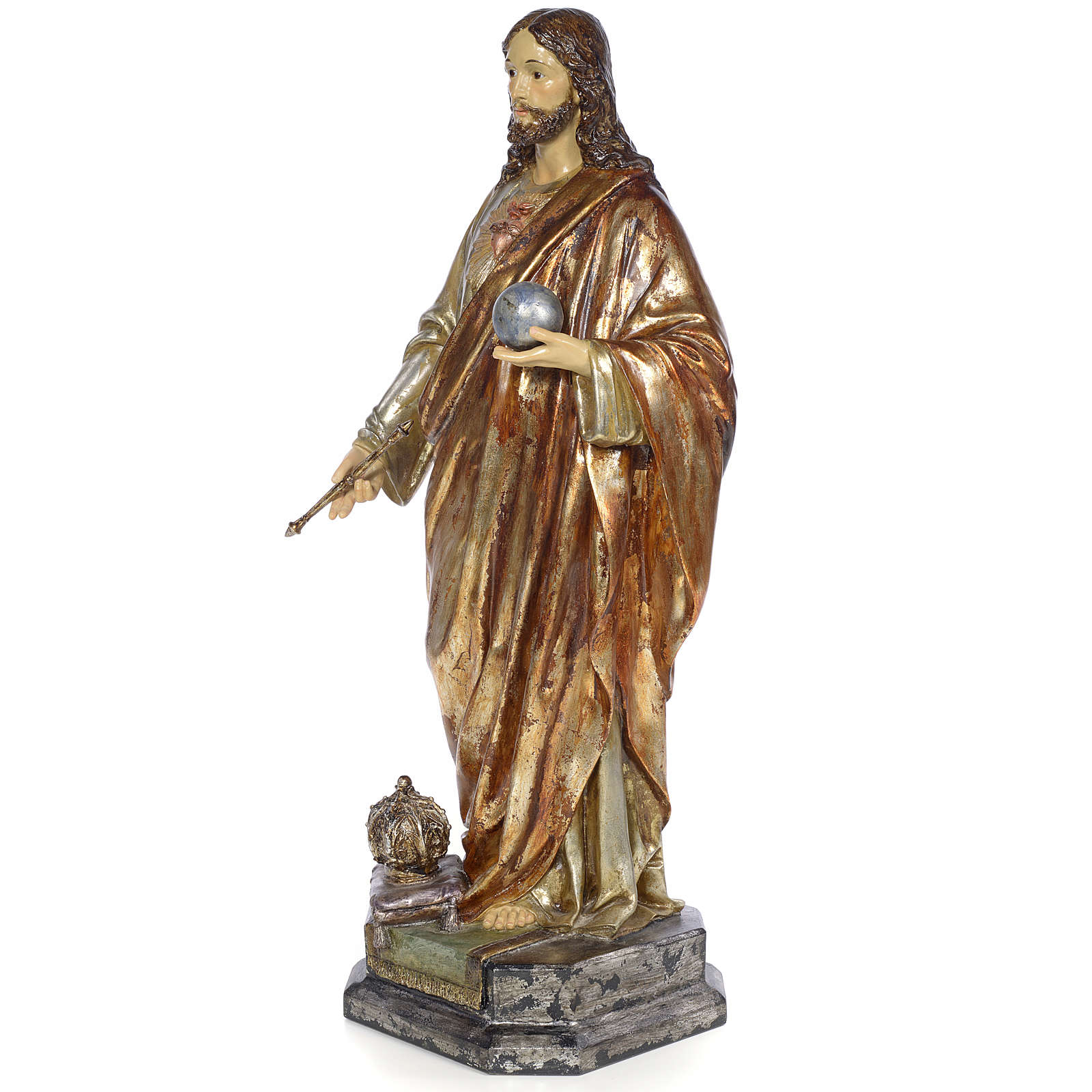 Christ the King Sovereign priest, 80cm in wood paste, polychroma 4