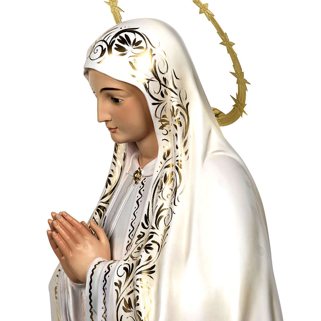 Virgin of Fatima wood paste 120cm, elegant finish 4