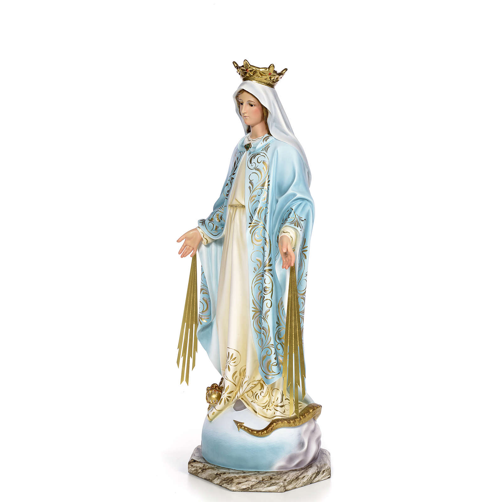 Virgin of the miracle medal wood paste 80cm, fine finish 4