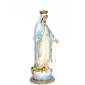 Virgin of the miracle medal wood paste 80cm, fine finish s4