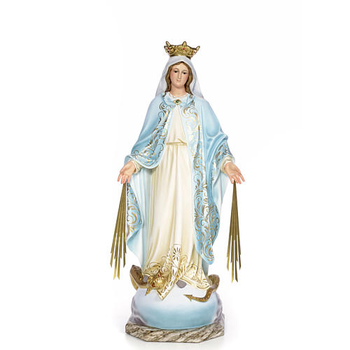 Virgin of the miracle medal wood paste 80cm, fine finish 1