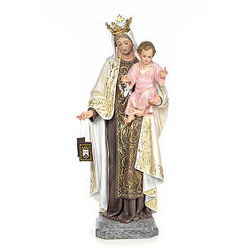 Hand painted wooden statues: Our Lady of Mount Carmel wood paste 100cm, fine finish