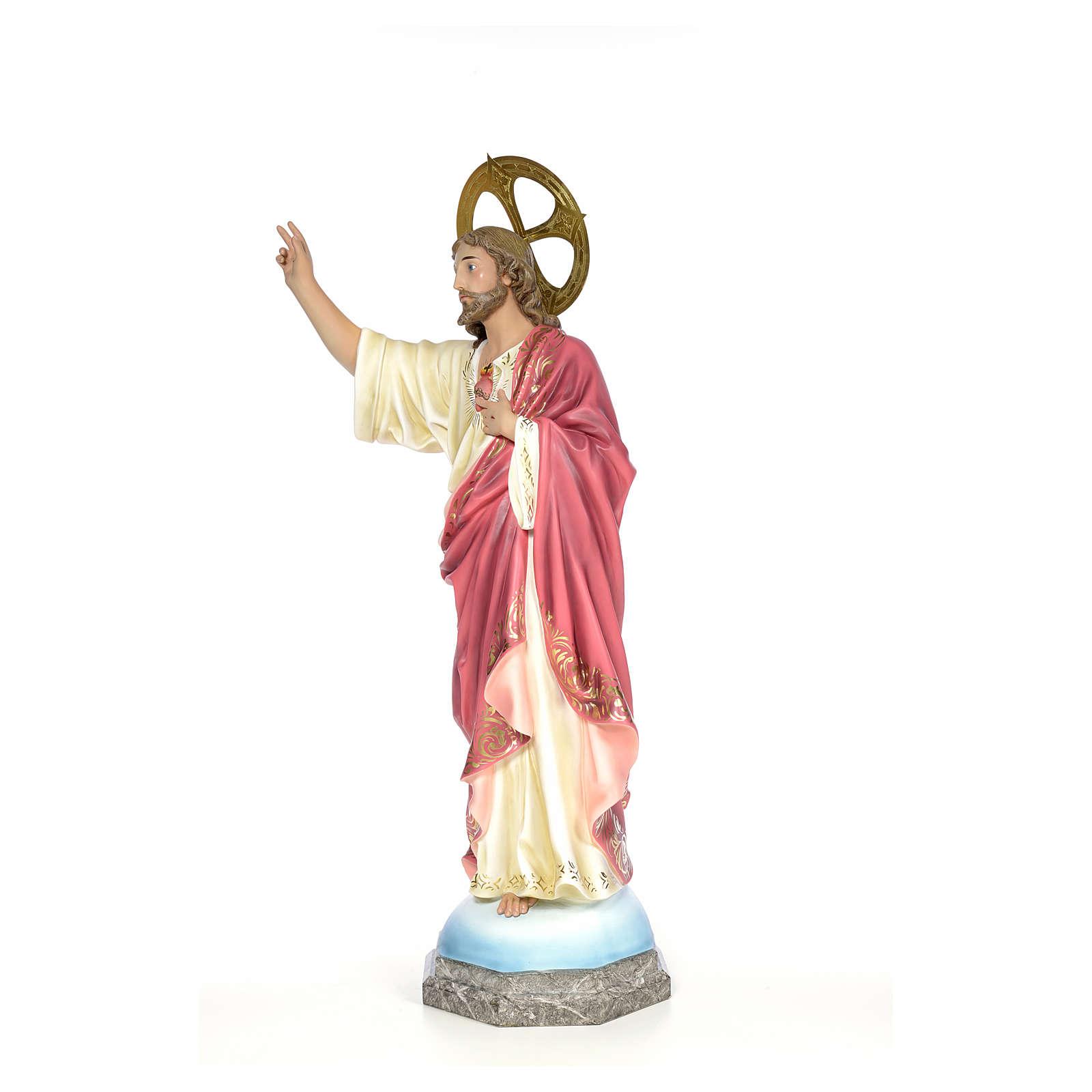 Sacro Cuore di Gesù 100 cm pasta di legno dec. elegante 4