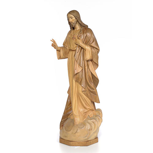 Sacred Heart of Jesus 80cm, wood with burnished decoration 2