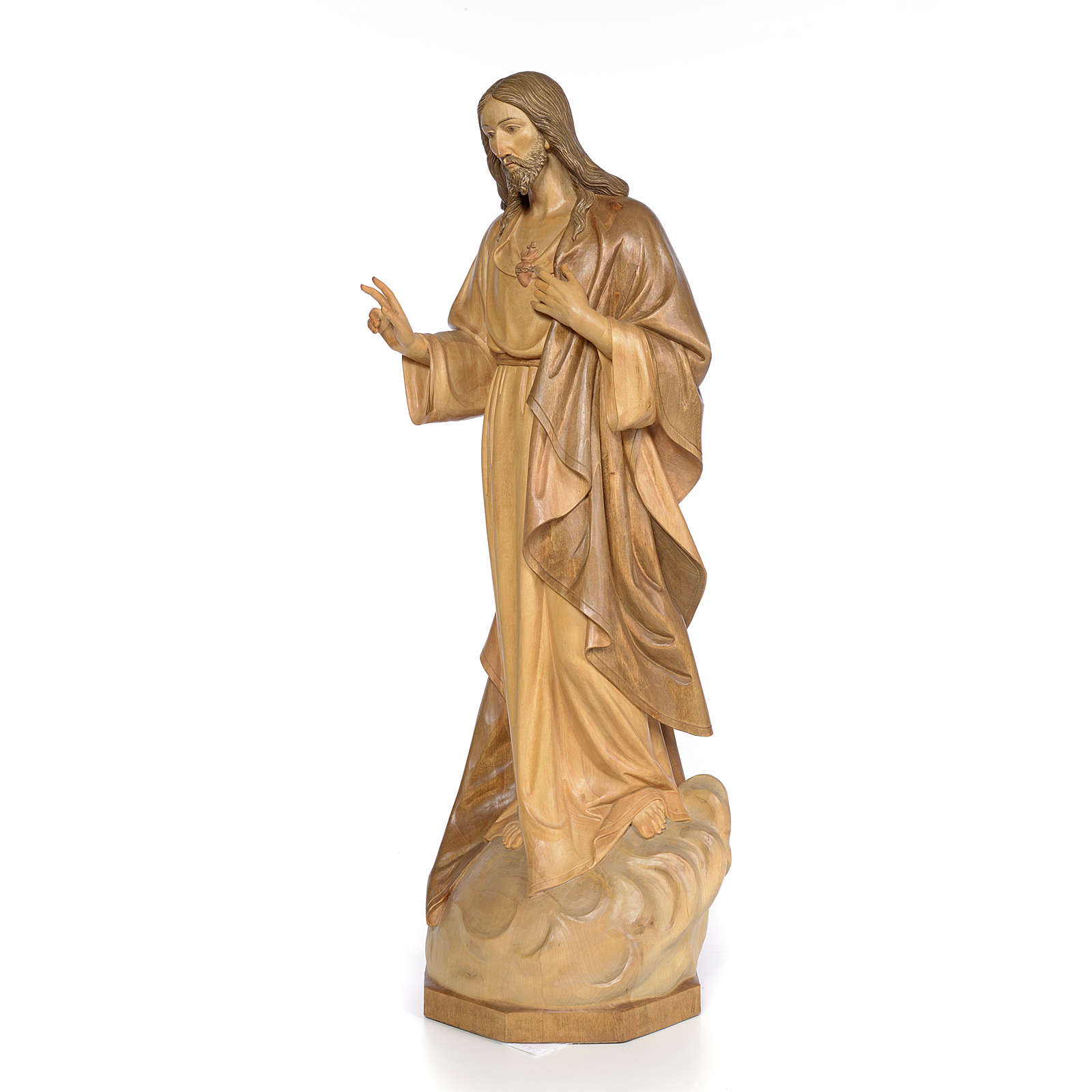 Sacred Heart of Jesus 80cm, wood with burnished decoration 4