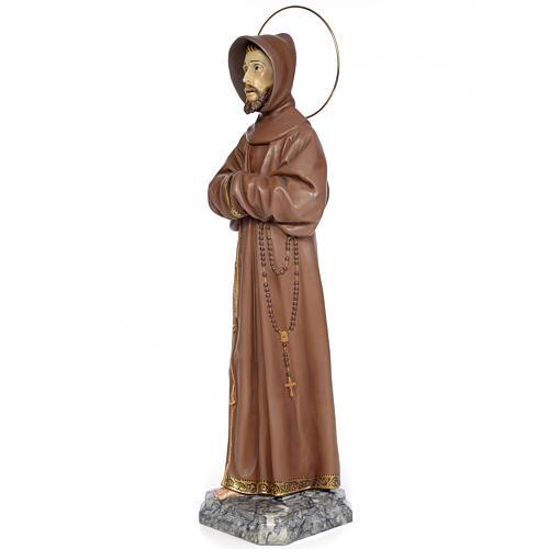 Saint Francis of Assisi 80cm wood paste, burnished decoration 2