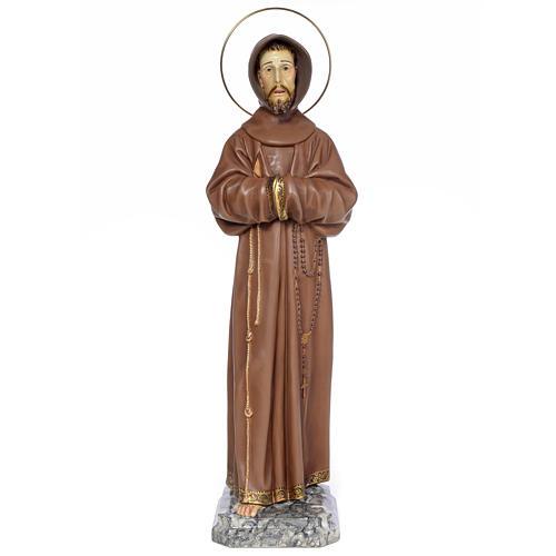 Saint François d'Assise 80 cm pâte à bois fin. brunie 1