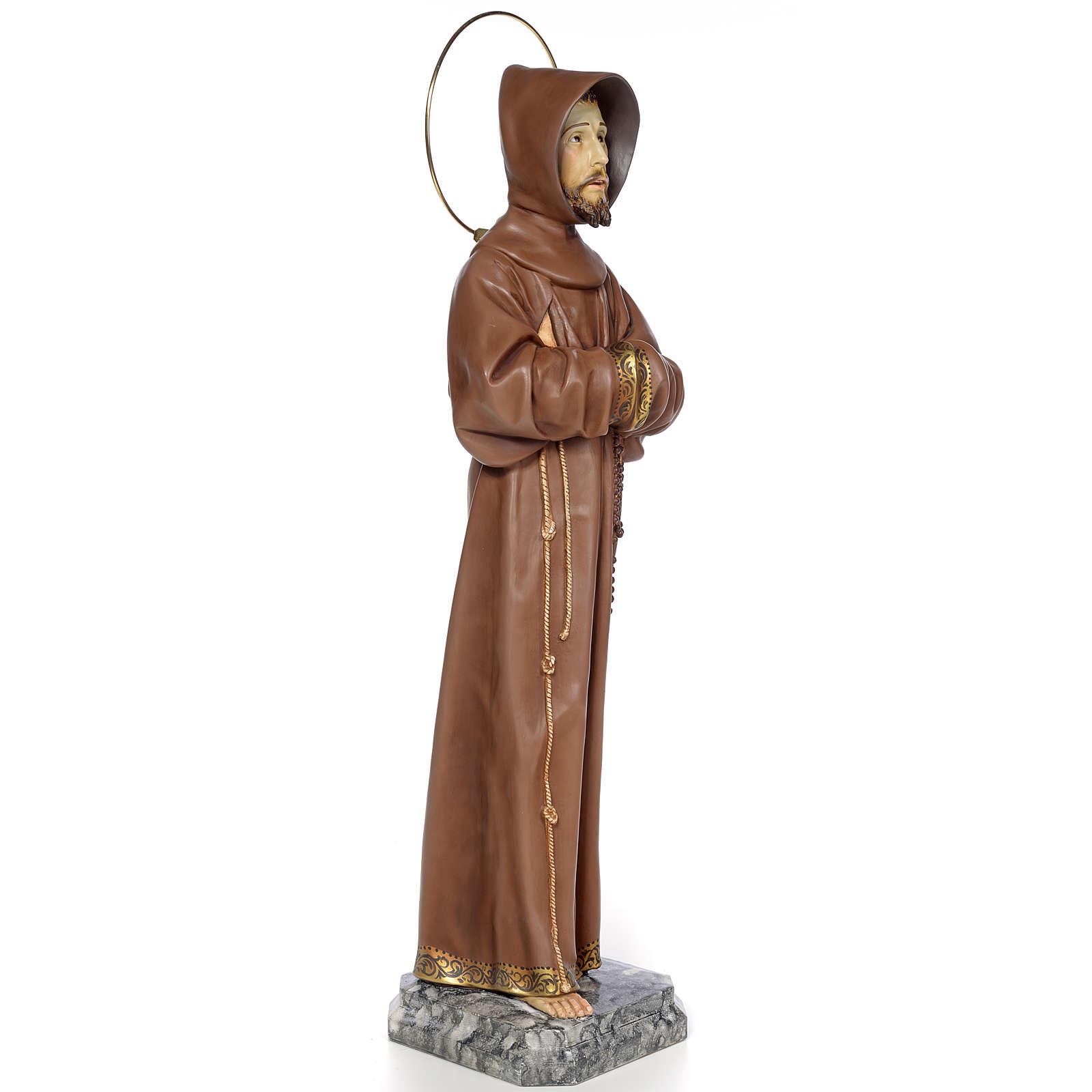 Saint Francis of Assisi 80cm wood paste, burnished decoration 4