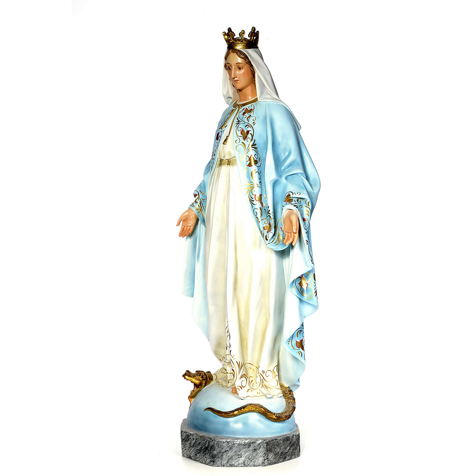 Virgin of the miracle medal wood paste 140cm, fine finish 4