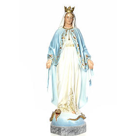 Virgin of the miracle medal wood paste 140cm, fine finish s1