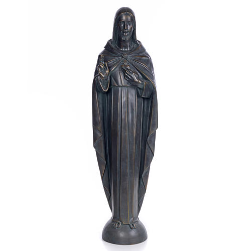 Sacred Heart of Jesus, 100cm in wood paste, bronzed decoration 1