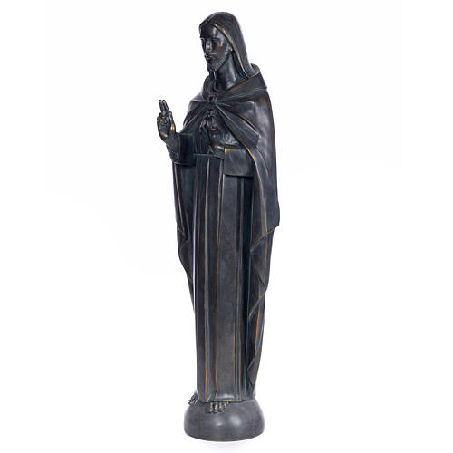 Sacred Heart of Jesus, 100cm in wood paste, bronzed decoration 2