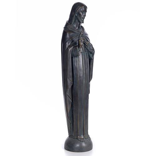 Sacred Heart of Jesus, 100cm in wood paste, bronzed decoration 4