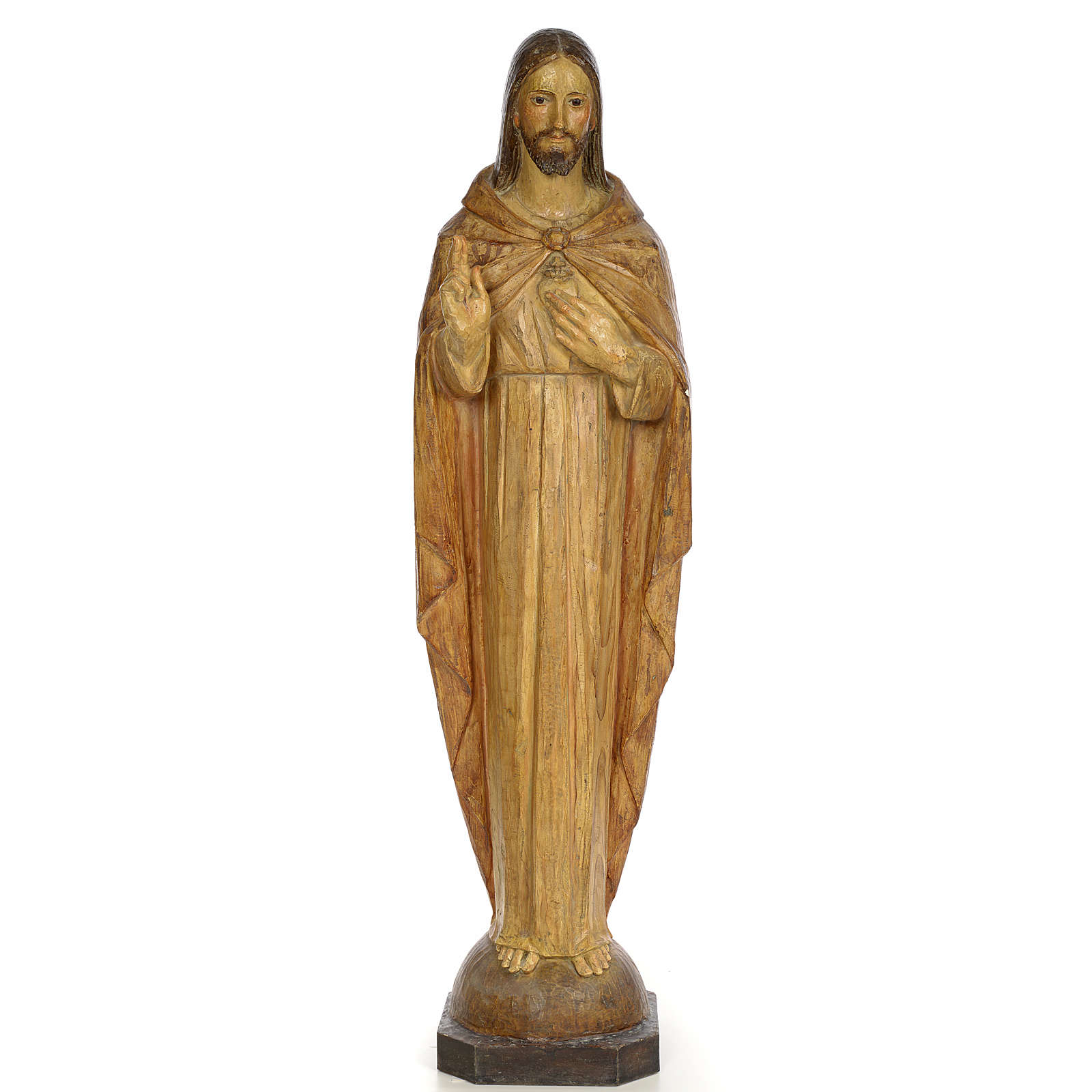 Sacred Heart of Jesus, 100cm in wood paste, chiselled effect dec 4