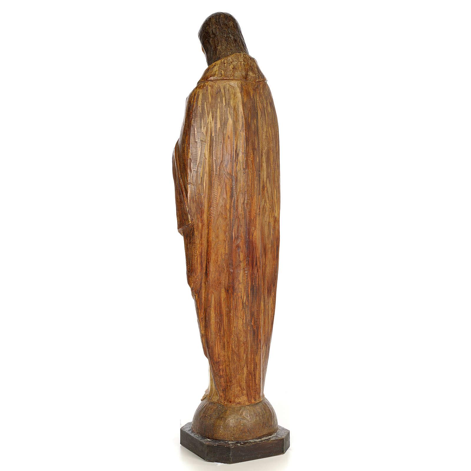 Sacro Cuore Gesù 100 cm pasta di legno dec. effetto scalpello 4